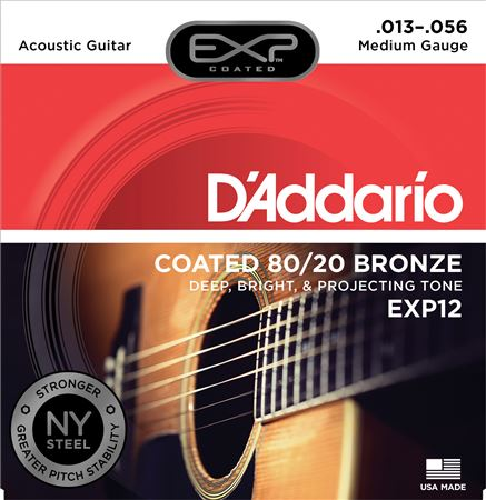 DAddario EXP12 Medium Coated 8020 Bronze Acoustic Strings