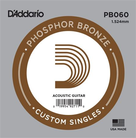 DAddario PB060 Phosphor Bronze Wound Single Acoustic Guitar String