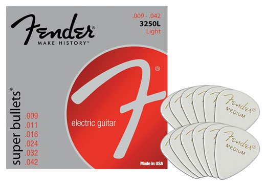 Fender 3250L Super Bullet Electric Guitar Strings Package