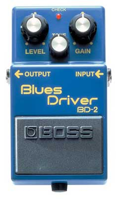 The Boss BD2 Blues Driver Guitar Overdrive Distortion Pedal delivers the creamy, yet crunchy sound associated with great blues guitar. Instant access to the kind of warm overdrive and emotive distortion usually reserved for 30 year-old tube amps. BOSS knows the sound that guitarists want and has the technological expertise to provide it, thanks to decades of experience in guitar-oriented products like the popular OD1 and DS1 compact pedals. The BD2 Blues Driver is a compact pedal that gives you the classic, bluesy sound of a vintage tube amp. Whether it's on-stage, in the studio or practicing at home, the BD2 Blues Driver gives you that classic tube amp sound. Boss BD2 Features Classic blues guitar tones with tube amp simulation Warm distortion and overdrive Responds to nuance and volume changes AC adaptor or 9V battery operation Five year warranty The roots of great sound The tube amp has given the guitar a rich history of great sounds, from smooth jazz to screaming rock to crying blues. And while the guitar is a naturally expressive instrument, the tube amp makes it even more expressive, bringing out the subtle nuances of different types of guitars, pickups and playing styles. The tube amp has shared center stage with some of history's greatest guitarists and that same classic sound remains popular today. But with the BD2 Blues Driver, you don't have to own a vintage tube amplifier -- now you can get that same great sound and expressiveness in a compact pedal. Back to basics with the BD2 When the situation calls for straight-ahead, down-home blues/rock, the BD2 Blues Driver lives up to its name. Light distortion, fat overdrive or smooth, warm sustain -- the BD2 gives you all the textures you need to sing, cry or scream. These classic sounds are available for the first time in a compact pedal. So when it's time to get back to basics, just stomp on your trusty blue pedal -- the BD2 Blues Driver. All the warmth and sustain of a tube amp is at your command. The BD2 Blues Driver drives it home From the rehearsal studio to the concert stage, the BD2 delivers the goods, even when playing through a solid-state amp. So you don't have to invest big bucks in a vintage tube amp to get that vintage sound. Even when practicing at home at low volume, you can still get the sound of a cranked tube amplifier without tormenting neighbors. Fingertip control As for the controls there's nothing fancy here, just a Gain and Tone control like your favorite amp, along with an overall Level control. These simple controls give you a full range of possibilities. Crank the Gain for hard-driving distortion or pull it back for a smooth sound with a mild edge. The Tone control lets you get a variety of classic guitar sounds from blues-breakin' British to American tweed. And like a fine amplifier, the BD2 sound varies with your choice of guitar and pickups and it responds to the unique feel of your playing style.