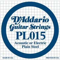 DAddario PL015 Plain Acoustic or Electric Guitar String