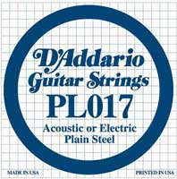 DAddario PL017 Plain Acoustic or Electric Guitar String