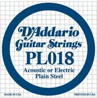DAddario PL018 Plain Acoustic or Electric Guitar String