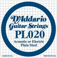 DAddario PL020 Plain Acoustic or Electric Guitar String