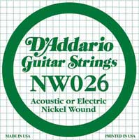 DAddario NW026 Nickel Wound Electric Guitar String
