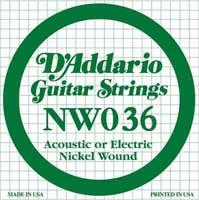 DAddario NW036 Nickel Wound Electric Guitar String