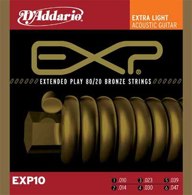 DAddario EXP10 Extra Light Coated 8020 Bronze Strings