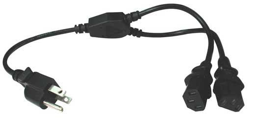 Hosa YIE406 Power Y Cable Dual IEC C13 to NEMA 5 15P 1.5 Foot