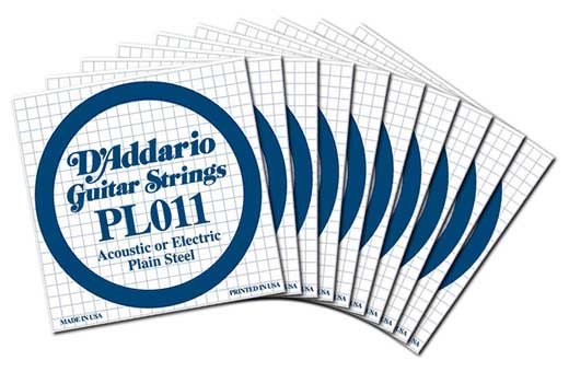 Daddario PL011 Plain Acoustic or Electric Guitar String