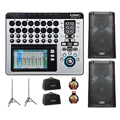 QSC TouchMix 16 Digital Mixer With K8 Powered Loudspeaker Pair Pack