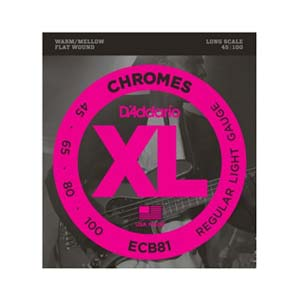 D'Addario ECB81 XL Chromes Flatwound Electric Bass Strings