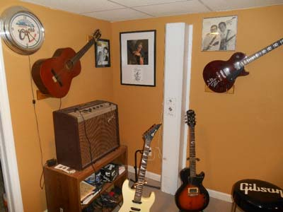 Jim's basement is nearly a museum in itself, featuring a number of artifacts, memorabilia and photos passed along from Les Paul.