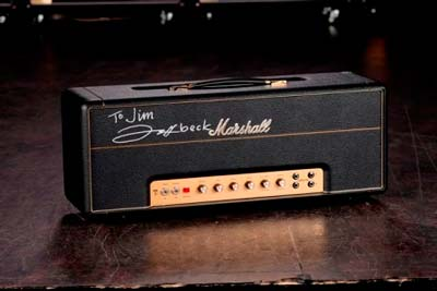 "The 1959SLPX ""Plexi"" Super Lead reissue that resides in the Marshall Museum in England – and yep, that signature is Jeff Beck's!  A legendary amp, signed by a legend for a legend!!"