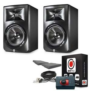 JBL LSR308 3 Series 8 Inch 2 Way Full Range Powered Studio Monitors With Image Control Waveguide Pair