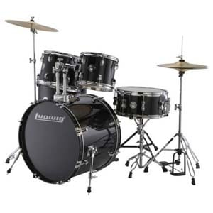 Ludwig LC175 Drive Complete 5 Piece Drum Set Black