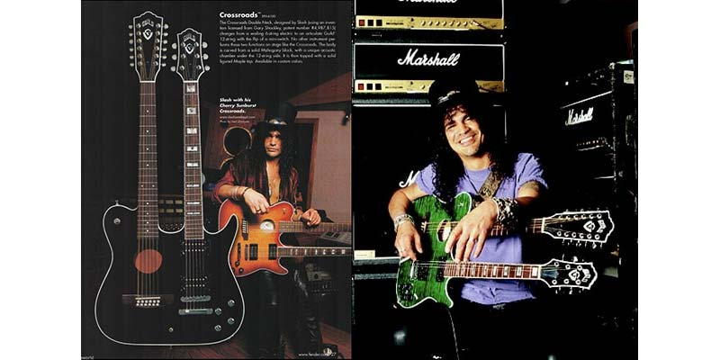 "Guild builds a double-neck guitar for Slash, called ""the Crossroads."" It was a red semi-acoustic 12-string at the top, and 6-string electric on the bottom. As the story goes, Slash designed this guitar on a napkin. A green version dubbed ""Godzilla"" is made later and accompanies him during the tail end of the Guns N' Roses years, as well as with Velvet Revolver."