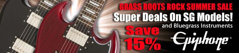 Epiphone 15 % off SG Models and Bluegrass Instruments