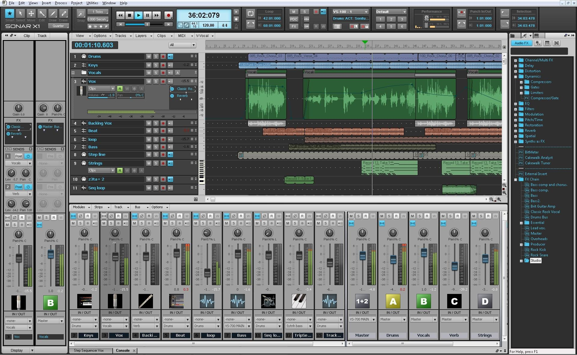 Cakewalk sonar x1 studio music production software for Music studio design software