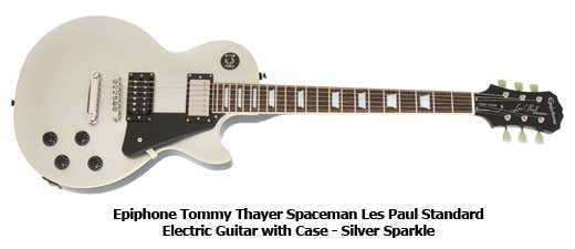 Epiphone Tommy Thayer Spaceman Les Paul Standard Electric Guitar with Case - Silver Sparkle