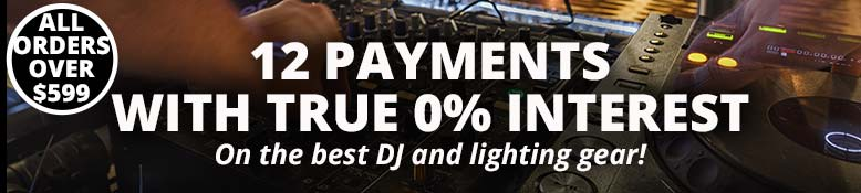 12 Payments with true 0% interest on the best DJ and lighting gear!