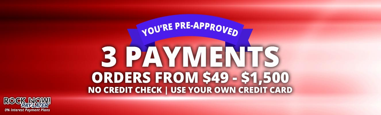 3 Payments on Orders from $49 to $1,500