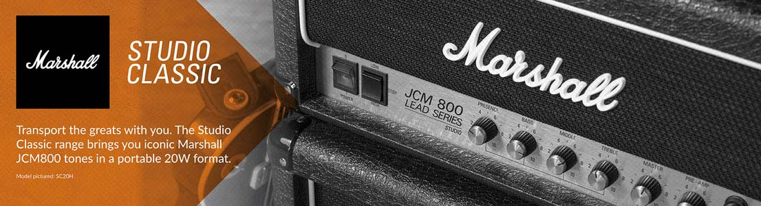 Studio Classic - Iconic Marshall JCM800 tones in a portable 20W format.